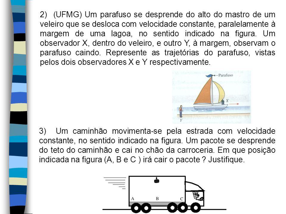 2) (UFMG) Um parafuso se desprende do alto do mastro de um veleiro que se desloca com velocidade constante, paralelamente à margem de uma lagoa, no sentido indicado na figura. Um observador X, dentro do veleiro, e outro Y, à margem, observam o parafuso caindo. Represente as trajetórias do parafuso, vistas pelos dois observadores X e Y respectivamente.