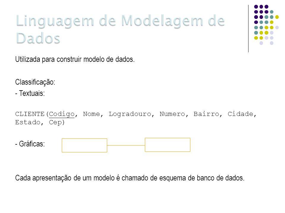 Utilizada para construir modelo de dados. Classificação: - Textuais: