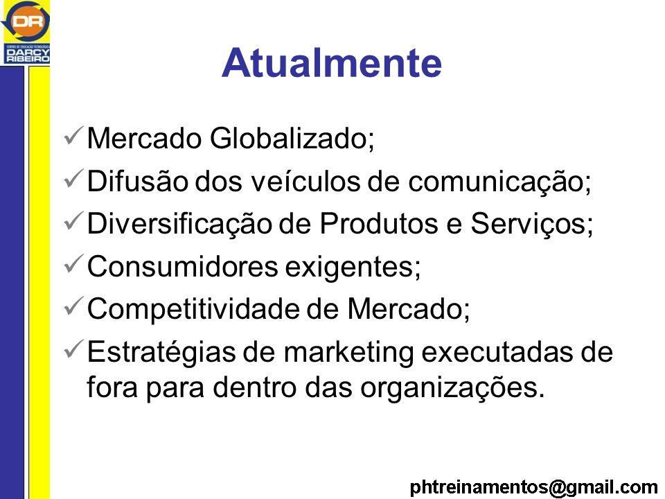 Atualmente Mercado Globalizado; Difusão dos veículos de comunicação;