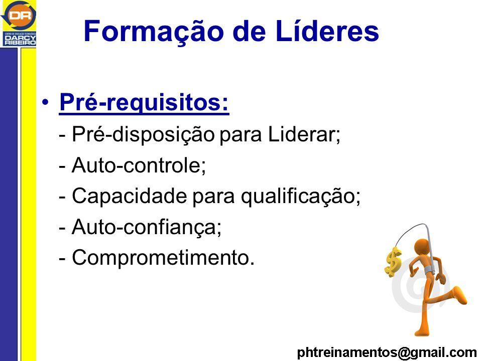 Formação de Líderes Pré-requisitos: - Pré-disposição para Liderar;