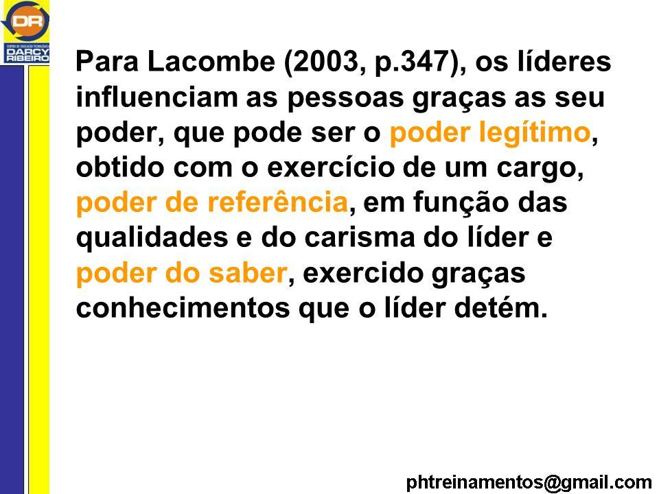 Para Lacombe (2003, p.347), os líderes influenciam as pessoas graças as seu poder, que pode ser o poder legítimo, obtido com o exercício de um cargo, poder de referência, em função das qualidades e do carisma do líder e poder do saber, exercido graças conhecimentos que o líder detém.