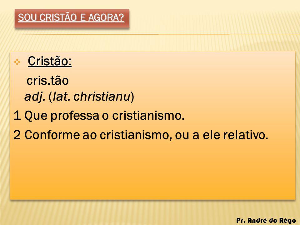 cris.tão adj. (lat. christianu) 1 Que professa o cristianismo.
