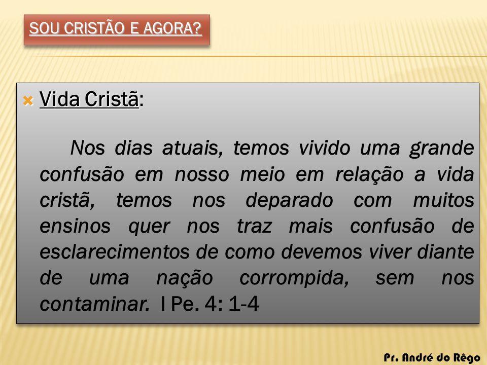 SOU CRISTÃO E AGORA Vida Cristã: