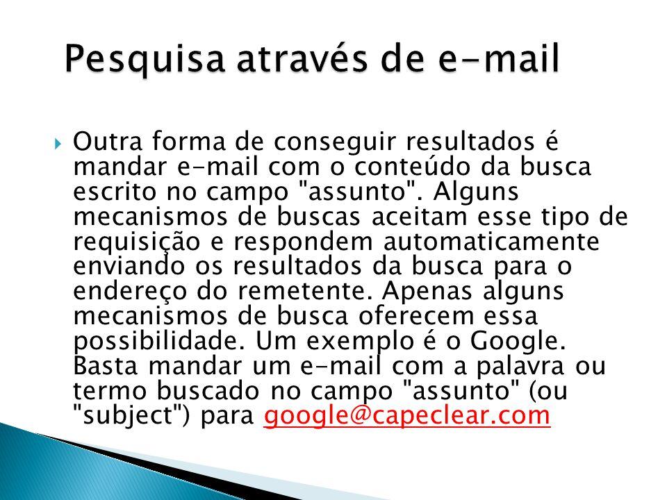 Pesquisa através de e-mail