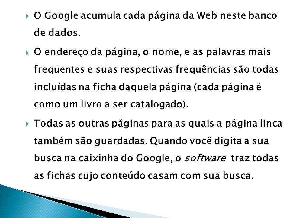 O Google acumula cada página da Web neste banco de dados.