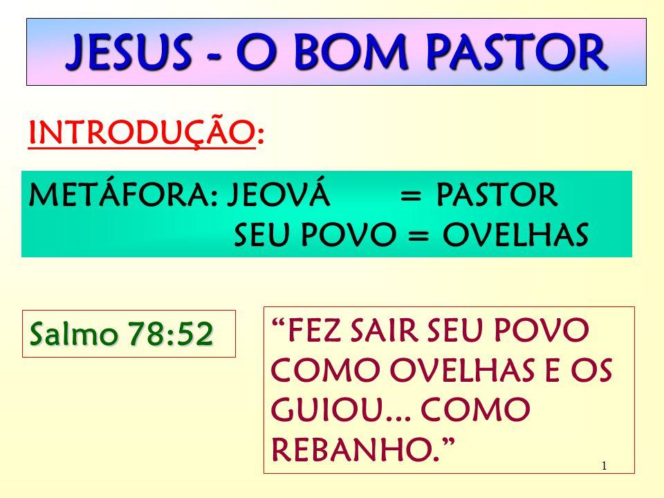 JESUS - O BOM PASTOR INTRODUÇÃO: METÁFORA: JEOVÁ = PASTOR