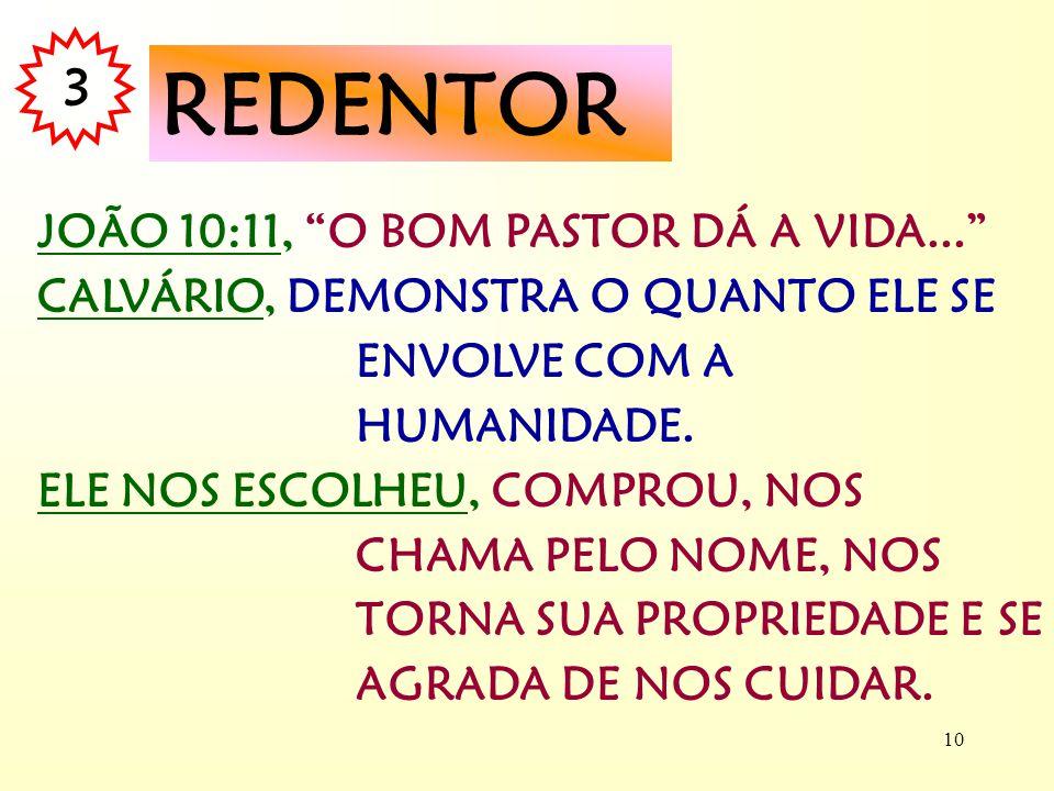 REDENTOR 3 JOÃO 10:11, O BOM PASTOR DÁ A VIDA...