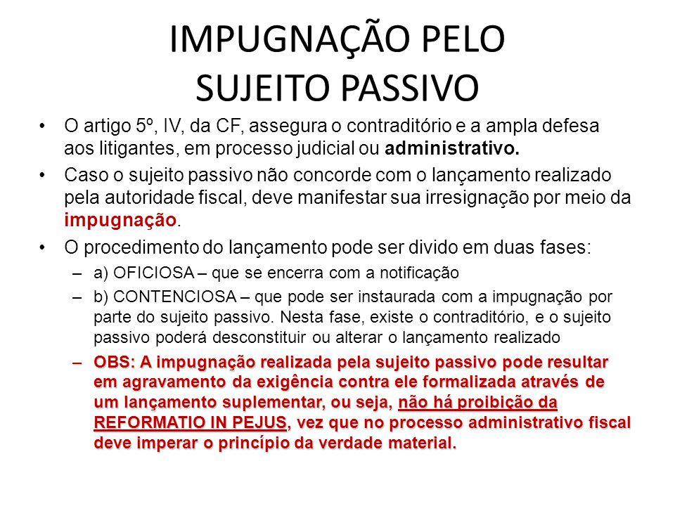 IMPUGNAÇÃO PELO SUJEITO PASSIVO