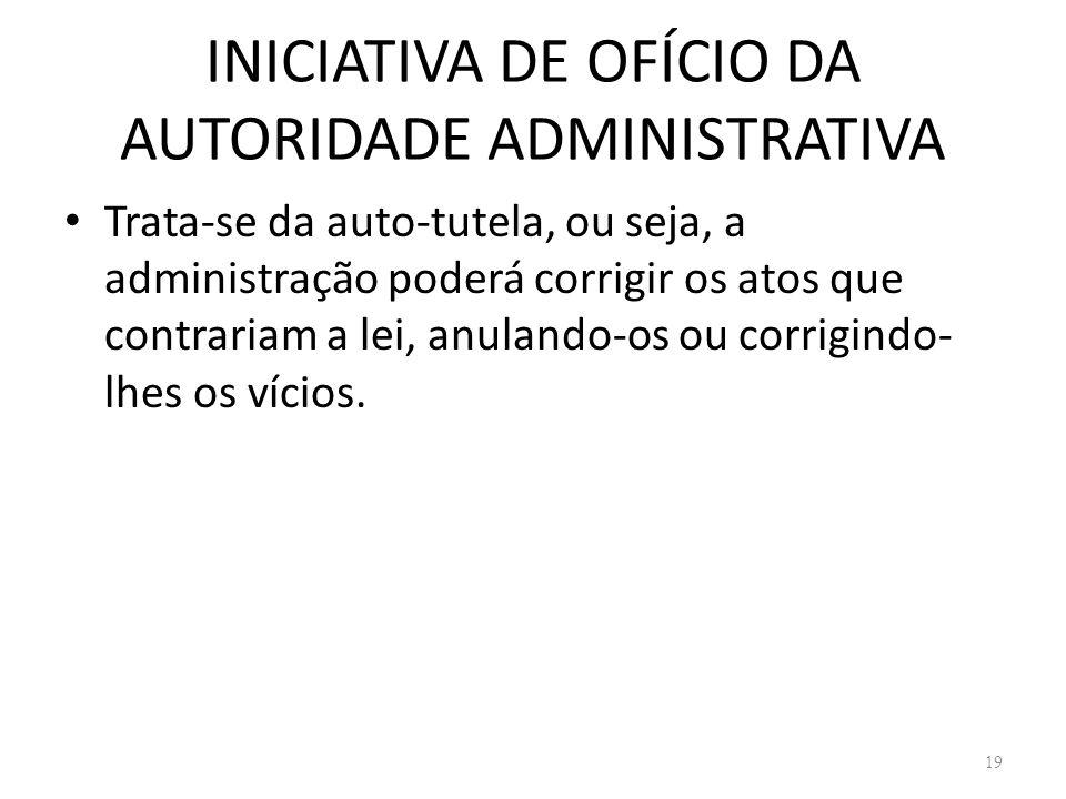 INICIATIVA DE OFÍCIO DA AUTORIDADE ADMINISTRATIVA