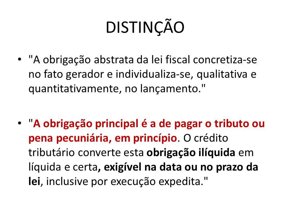 DISTINÇÃO A obrigação abstrata da lei fiscal concretiza-se no fato gerador e individualiza-se, qualitativa e quantitativamente, no lançamento.