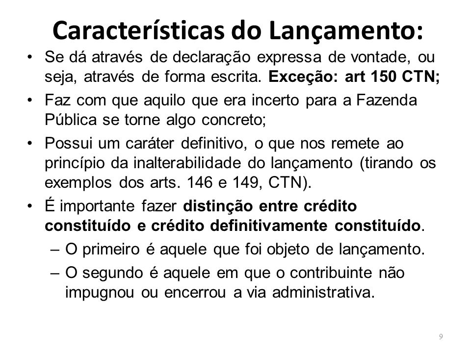 Características do Lançamento: