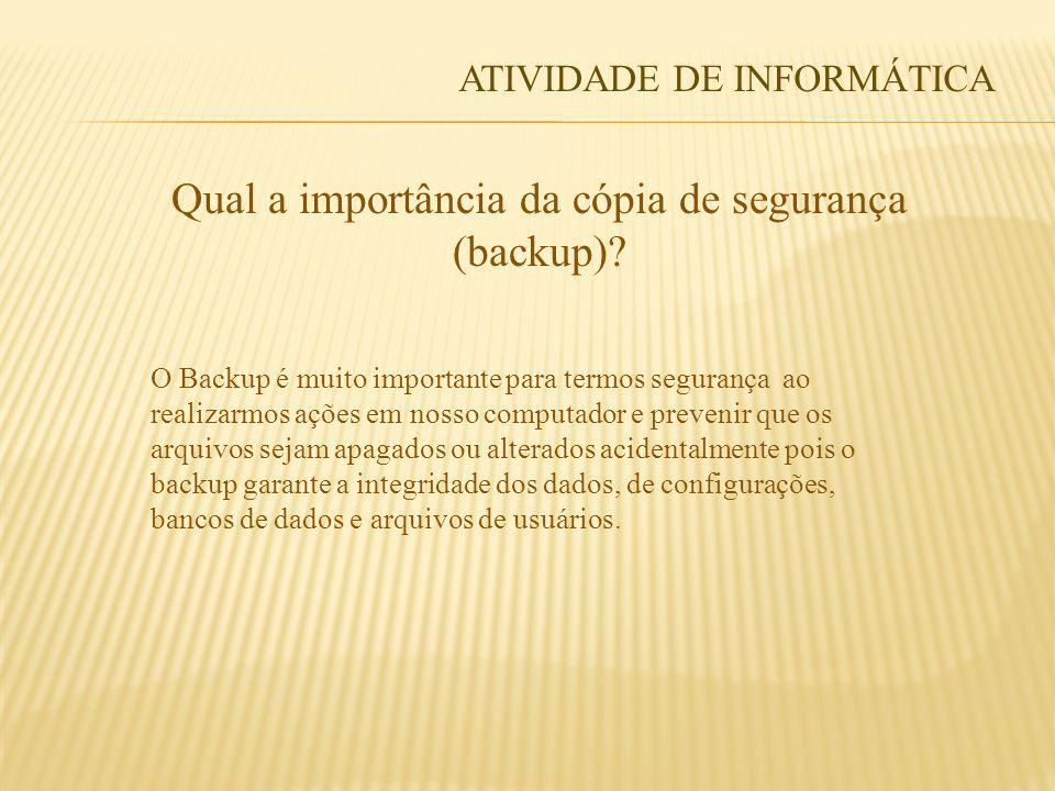 Qual a importância da cópia de segurança (backup)