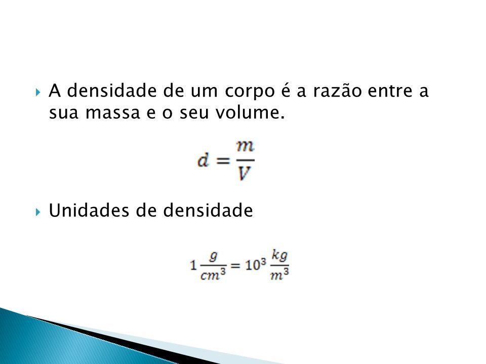 A densidade de um corpo é a razão entre a sua massa e o seu volume.