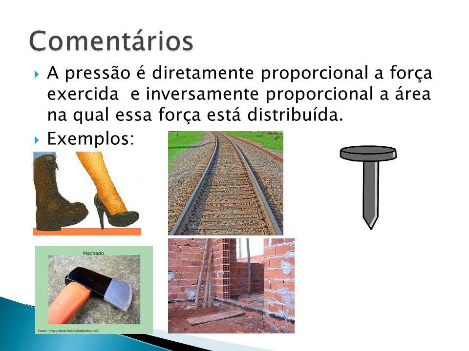 Comentários A pressão é diretamente proporcional a força exercida e inversamente proporcional a área na qual essa força está distribuída.