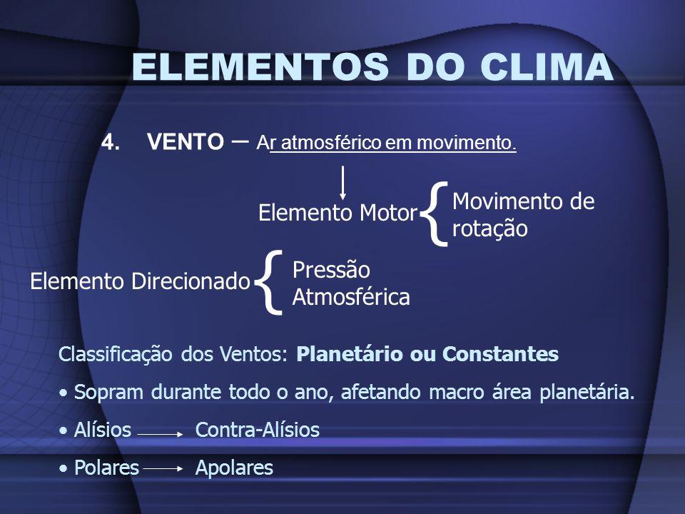 { { ELEMENTOS DO CLIMA 4. VENTO – Ar atmosférico em movimento.