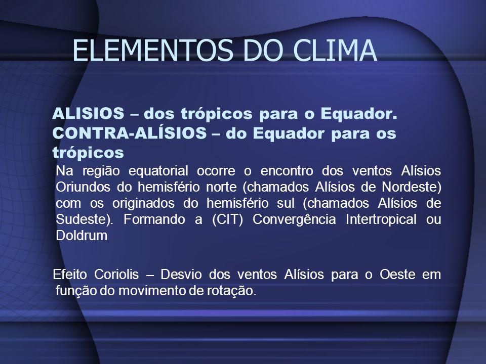 ELEMENTOS DO CLIMA ALISIOS – dos trópicos para o Equador. CONTRA-ALÍSIOS – do Equador para os trópicos.