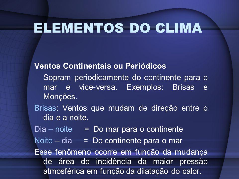 ELEMENTOS DO CLIMA Ventos Continentais ou Periódicos