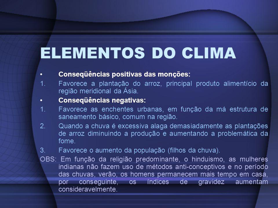 ELEMENTOS DO CLIMA Conseqüências positivas das monções:
