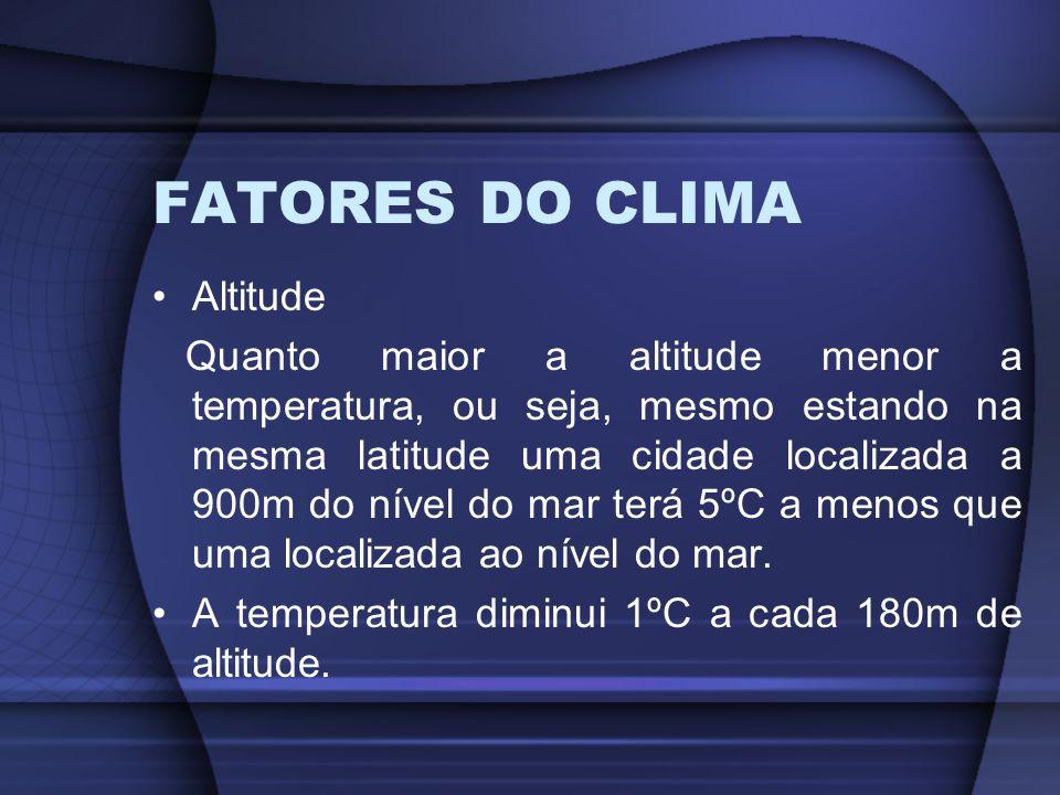FATORES DO CLIMA Altitude