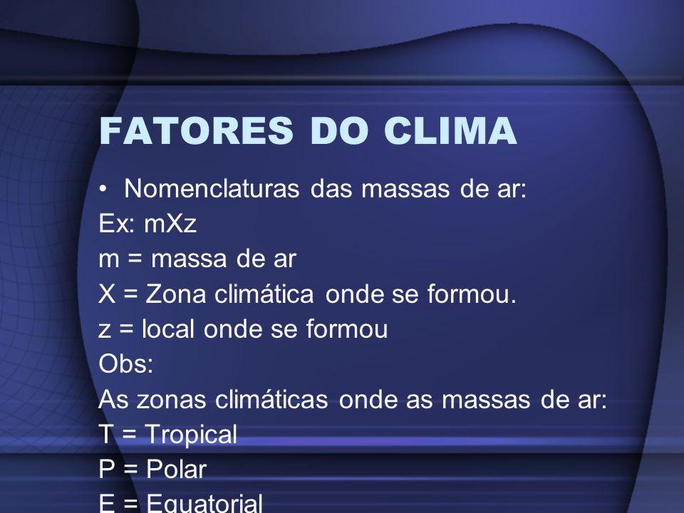 FATORES DO CLIMA Nomenclaturas das massas de ar: Ex: mXz