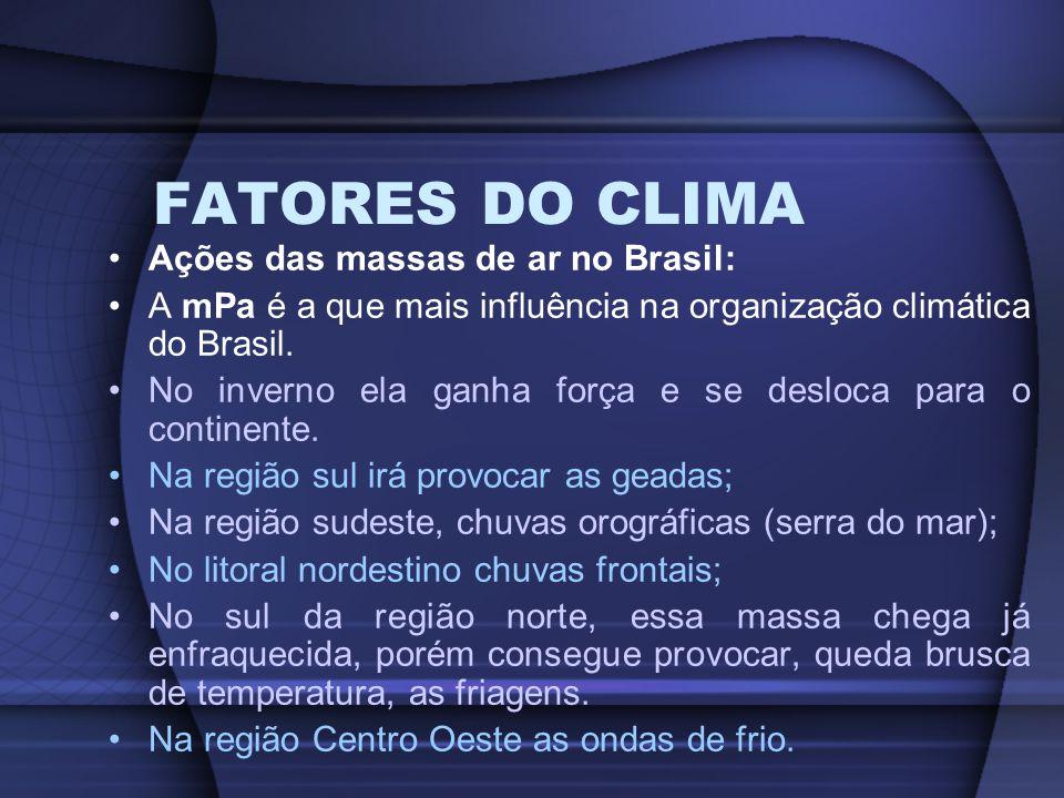 FATORES DO CLIMA Ações das massas de ar no Brasil: