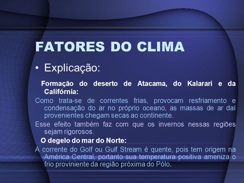 FATORES DO CLIMA Explicação: