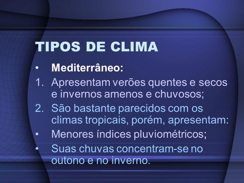 TIPOS DE CLIMA Mediterrâneo: