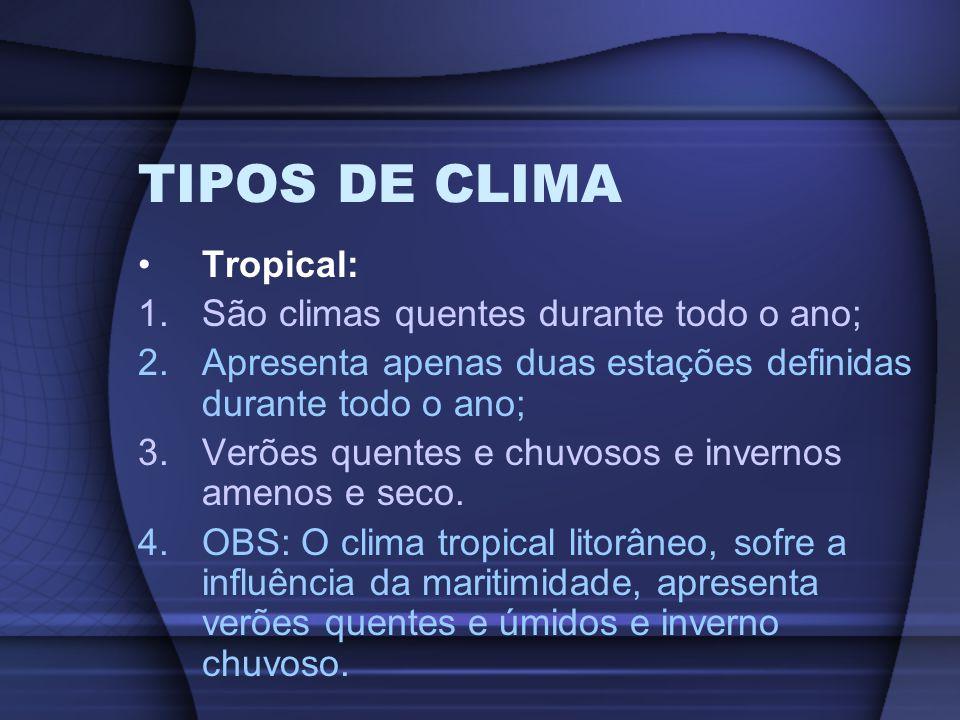 TIPOS DE CLIMA Tropical: São climas quentes durante todo o ano;