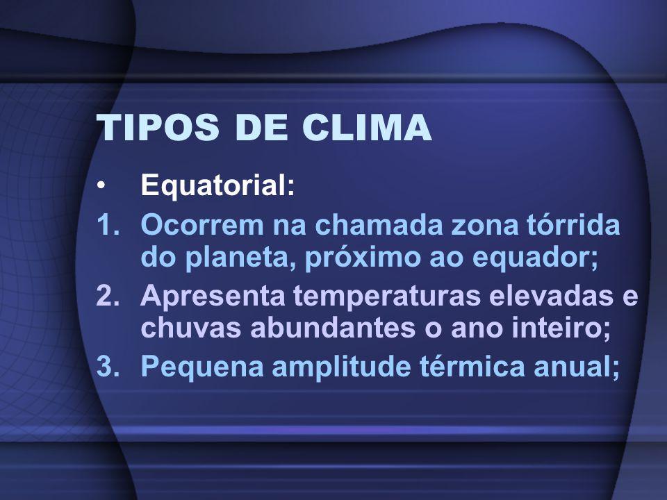 TIPOS DE CLIMA Equatorial: