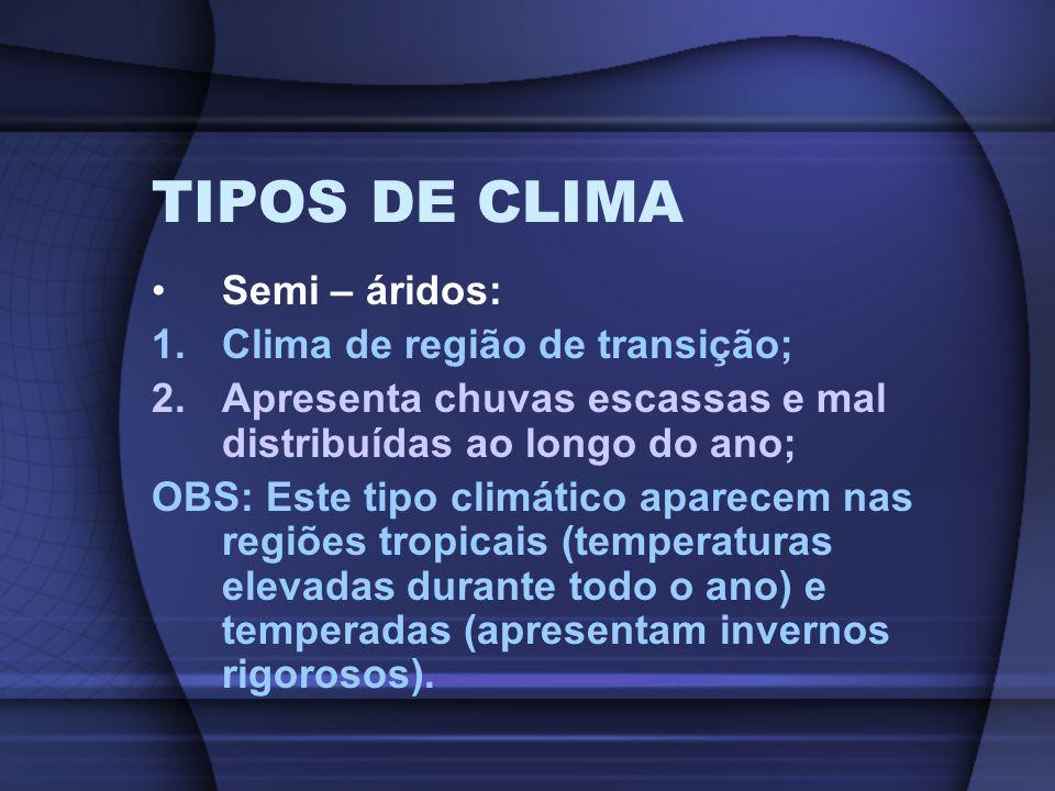 TIPOS DE CLIMA Semi – áridos: Clima de região de transição;