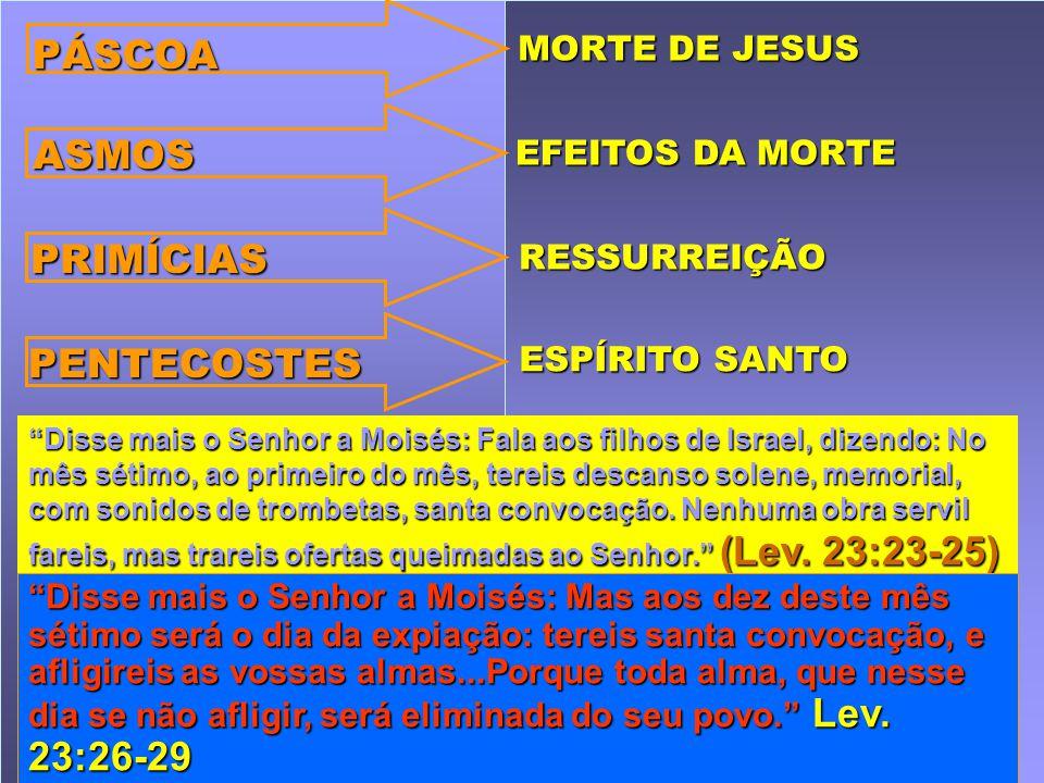 PÁSCOA ASMOS PRIMÍCIAS PENTECOSTES MORTE DE JESUS EFEITOS DA MORTE