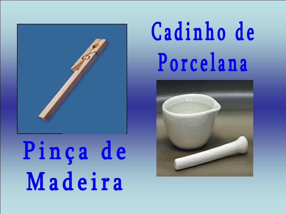 Cadinho de Porcelana Pinça de Madeira