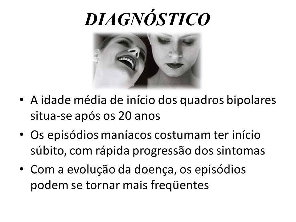 DIAGNÓSTICO A idade média de início dos quadros bipolares situa-se após os 20 anos.