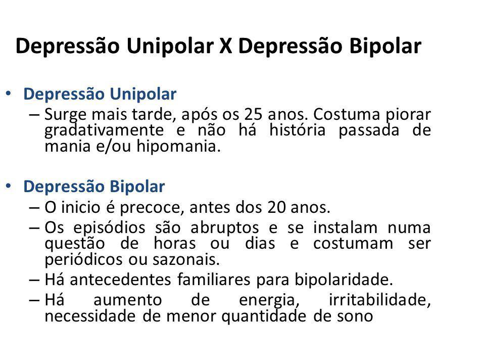 Depressão Unipolar X Depressão Bipolar