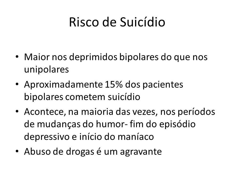 Risco de Suicídio Maior nos deprimidos bipolares do que nos unipolares