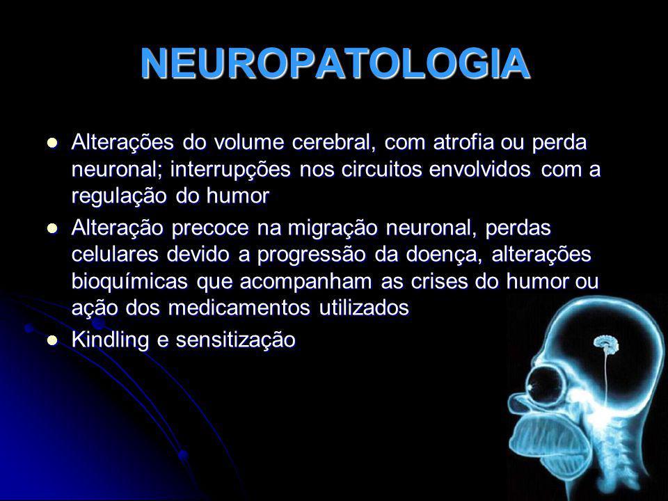 NEUROPATOLOGIA Alterações do volume cerebral, com atrofia ou perda neuronal; interrupções nos circuitos envolvidos com a regulação do humor.