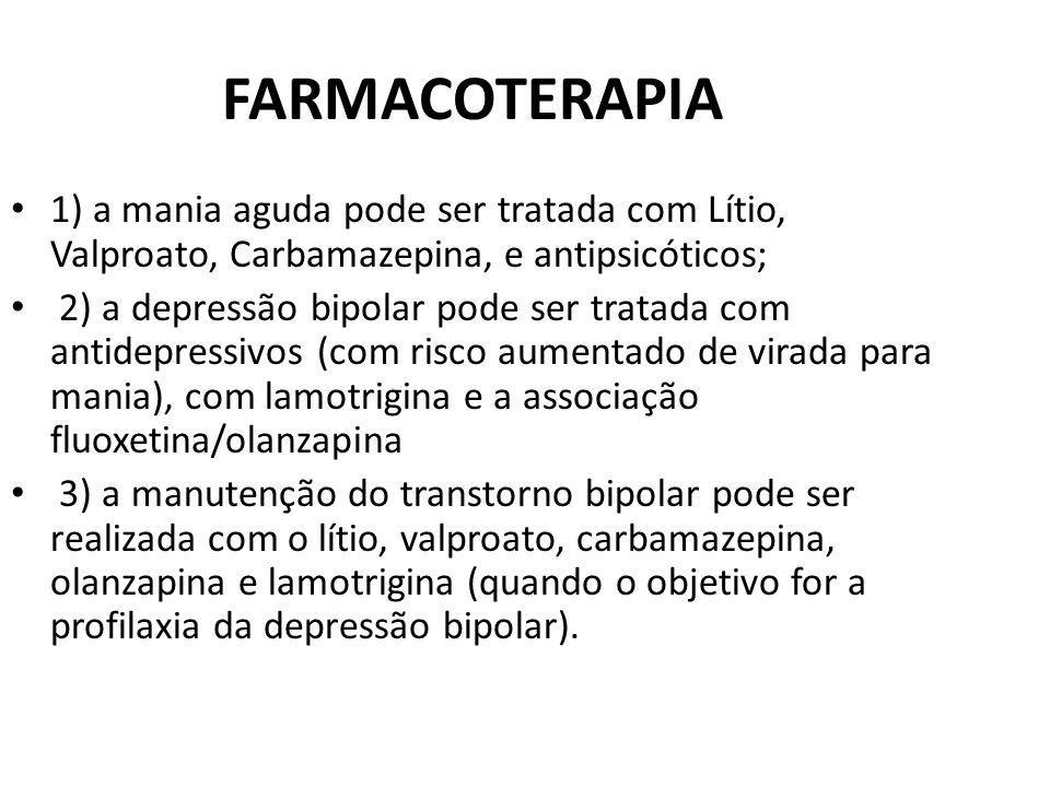 FARMACOTERAPIA 1) a mania aguda pode ser tratada com Lítio, Valproato, Carbamazepina, e antipsicóticos;