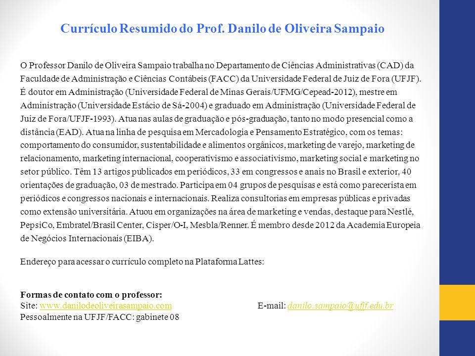 Currículo Resumido do Prof. Danilo de Oliveira Sampaio