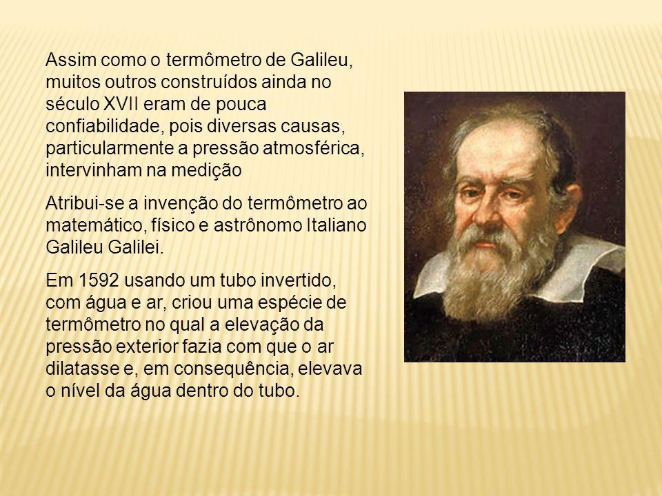 Assim como o termômetro de Galileu, muitos outros construídos ainda no século XVII eram de pouca confiabilidade, pois diversas causas, particularmente a pressão atmosférica, intervinham na medição
