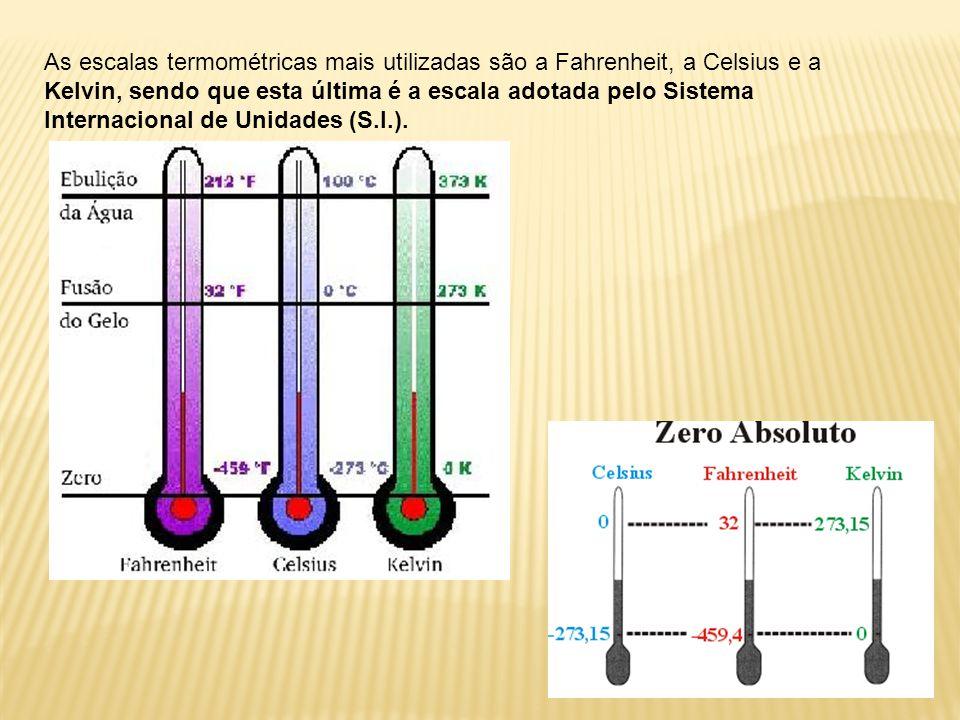 As escalas termométricas mais utilizadas são a Fahrenheit, a Celsius e a Kelvin, sendo que esta última é a escala adotada pelo Sistema Internacional de Unidades (S.I.).