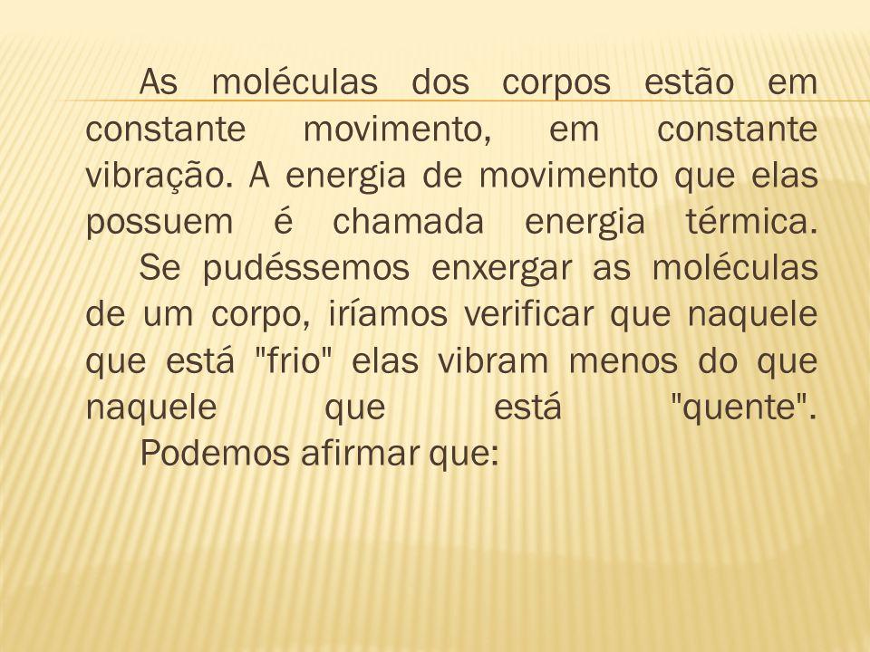As moléculas dos corpos estão em constante movimento, em constante vibração.