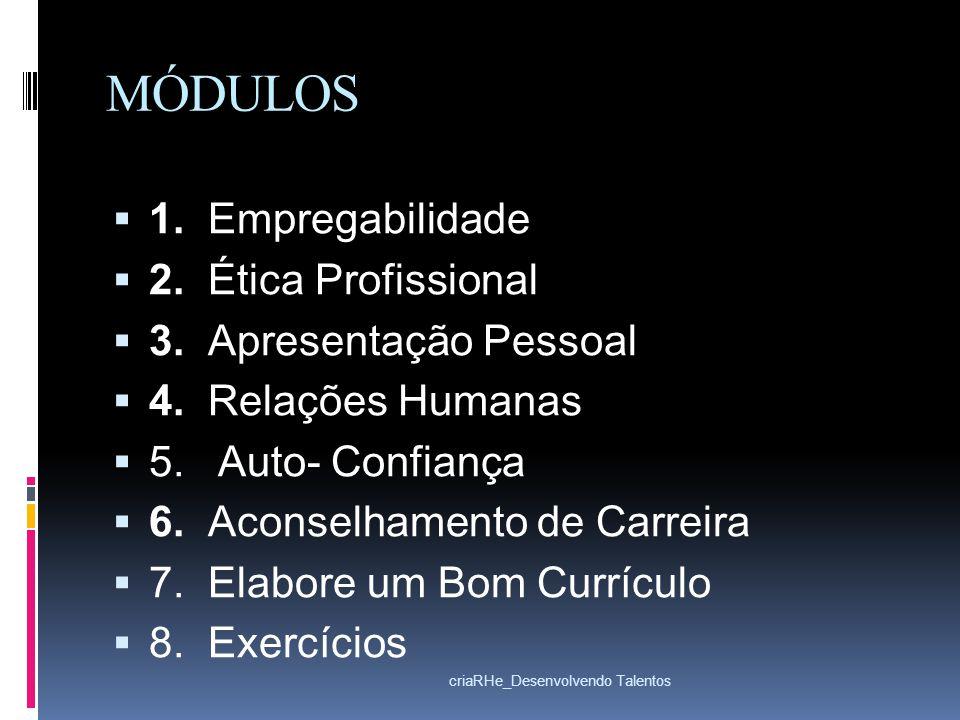 MÓDULOS 1. Empregabilidade 2. Ética Profissional