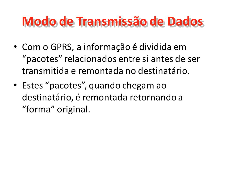 Modo de Transmissão de Dados