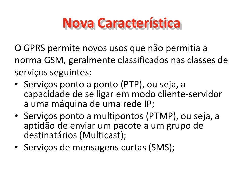 Nova Característica O GPRS permite novos usos que não permitia a
