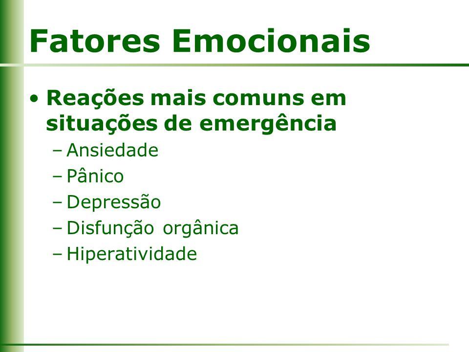 Fatores Emocionais Reações mais comuns em situações de emergência