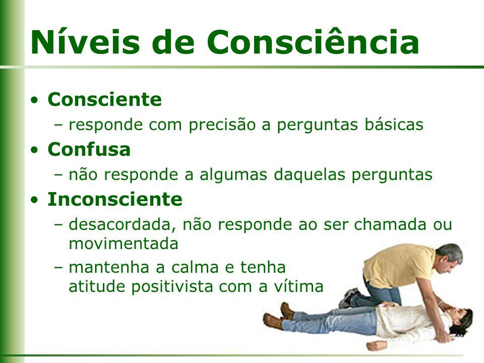 Níveis de Consciência Consciente Confusa Inconsciente
