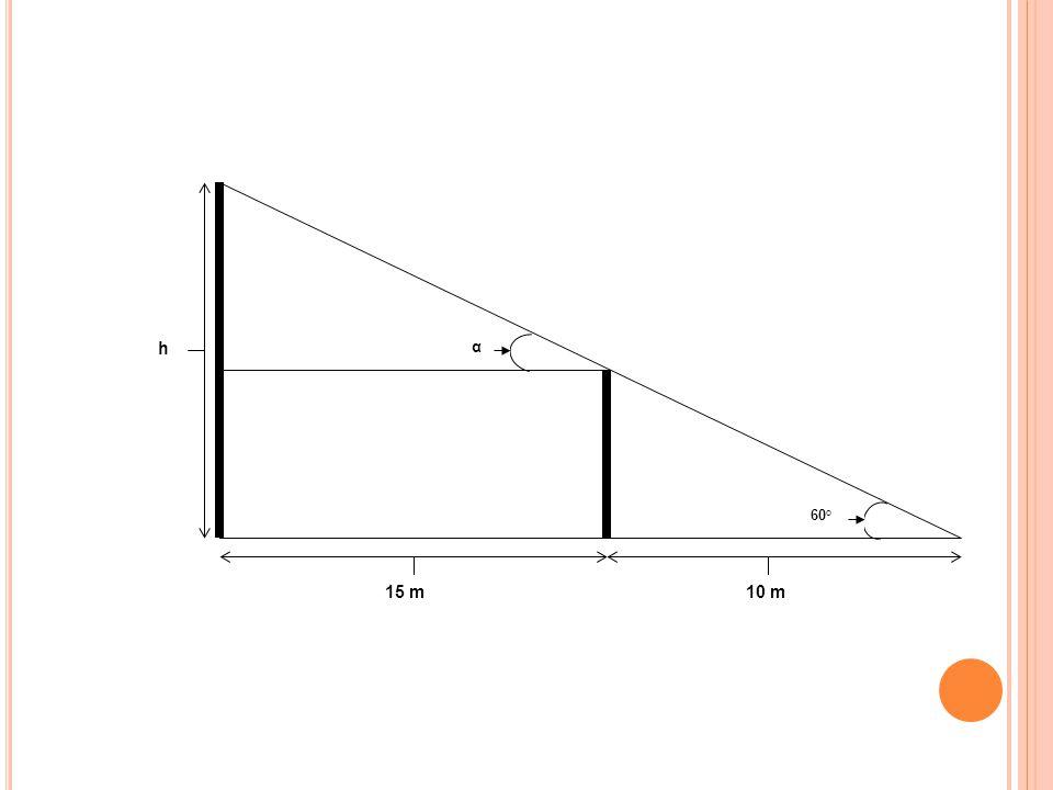 α 60° 15 m 10 m h