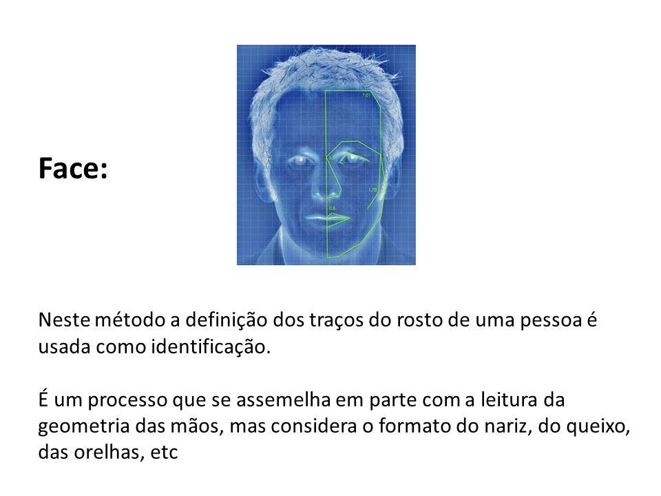 Face: Neste método a definição dos traços do rosto de uma pessoa é usada como identificação.