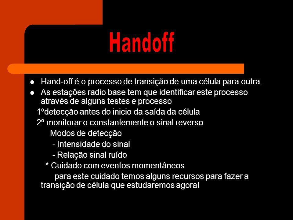 Handoff Hand-off é o processo de transição de uma célula para outra.