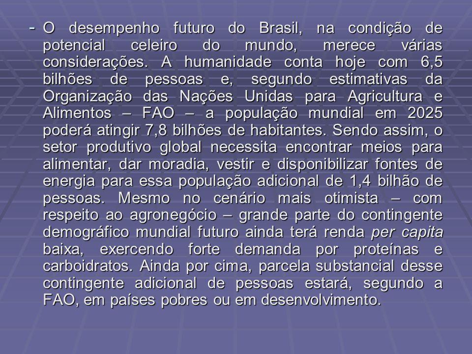 O desempenho futuro do Brasil, na condição de potencial celeiro do mundo, merece várias considerações.
